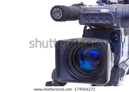 Television Beta camcorder lens in close up,photography ; TV camera - stock photo