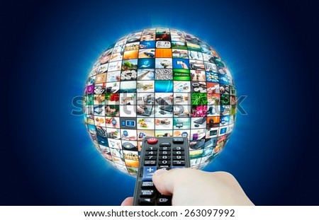 Television broadcast multimedia sphere abstract composition - stock photo