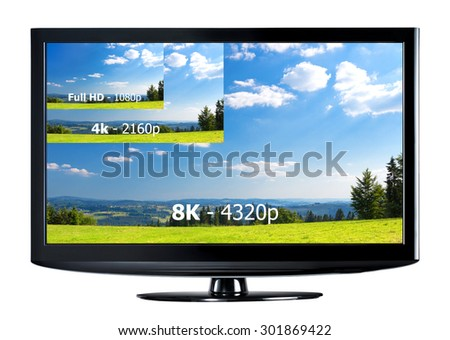 Television display with comparison of resolutions. Full ultra HD 8k on modern TV. - stock photo