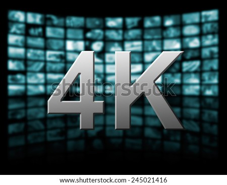 Television 4k resolution technology concept isolated on black. - stock photo