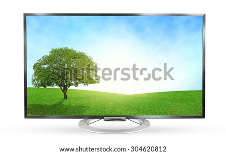 Television monitor landscape view isolated on white background. - stock photo