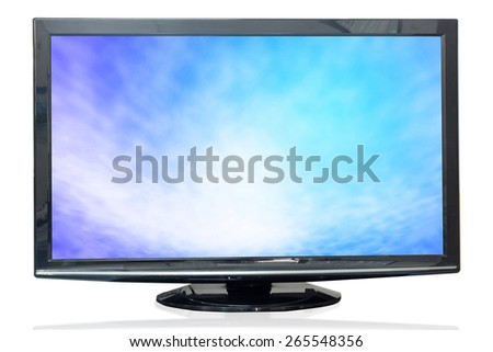 Television monitor texture sky isolated on white background. - stock photo