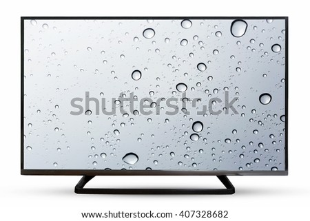 Television monitor water reflection isolated on white background. - stock photo