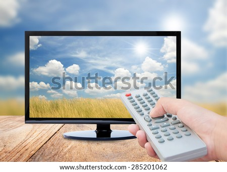 Television on wood floor and remote control TV on nature background - stock photo