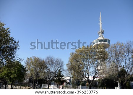 television tower in Thessaloniki, Macedonia, Greece - stock photo