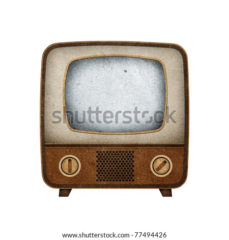 Television ( TV ) icon recycled paper craft stick on white background - stock photo