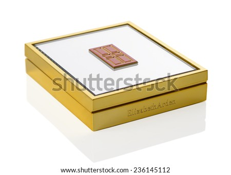 TELFORD, UK - DEC 08, 2014: An Elizabeth Arden compact of blusher in retail packaging with mirror lid.  Elizabeth Arden is a US based cosmetics company with headquarters in Miramar, Florida - stock photo