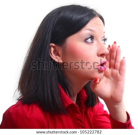 tell you a secret white isolated background - stock photo