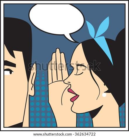 Telling secret, pop art. - stock photo