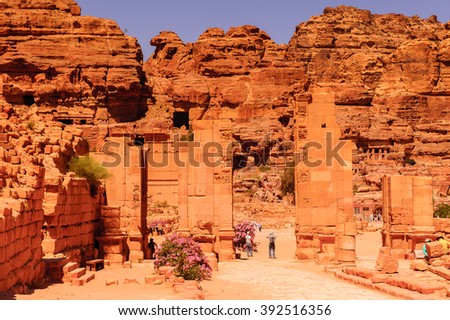 Temenos gate in Petra (Rose City), Jordan. The city of Petra was lost for over 1000 years. Now one of the Seven Wonders of the Word - stock photo