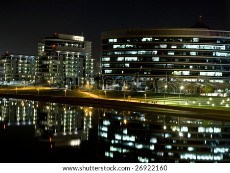 Tempe Arizona development on the Salt River  waterfront on Mill Avenue at night.