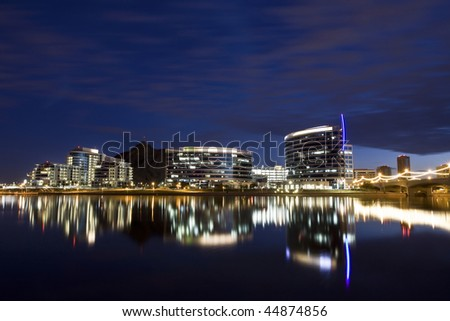Tempe Town Lake and the downtown Tempe skyline. - stock photo
