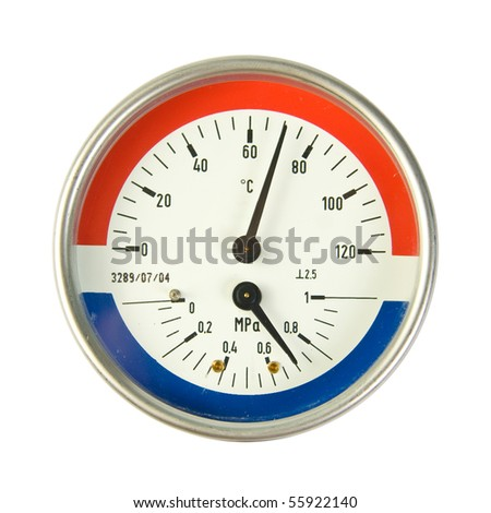 Temperature and pressure meter. Isolated on white