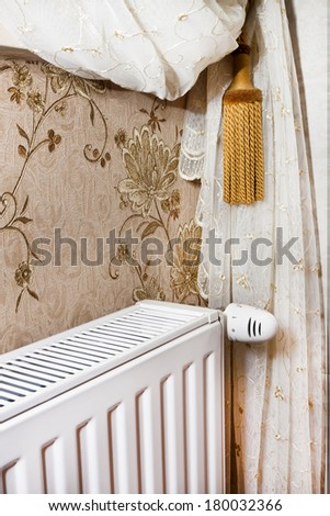temperature control central heating with thermostat - stock photo