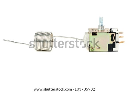 Temperature controller for normal operation of the refrigerator. Isolate on white - stock photo
