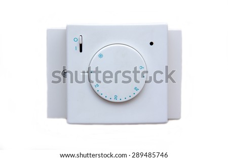Temperature controller on white background viewed from the front