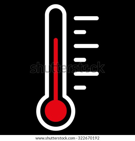Temperature Level glyph icon. Style is bicolor flat symbol, red and white colors, rounded angles, black background.