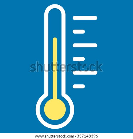 Temperature Level glyph icon. Style is bicolor flat symbol, yellow and white colors, rounded angles, blue background.