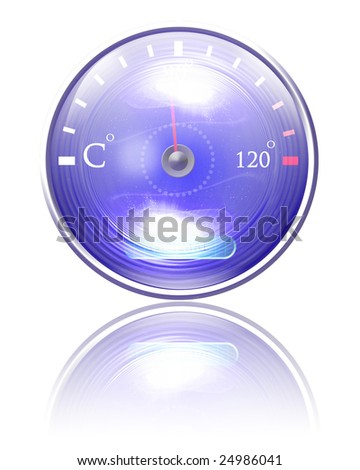 Temperature reading on dashboard on a white background - stock photo