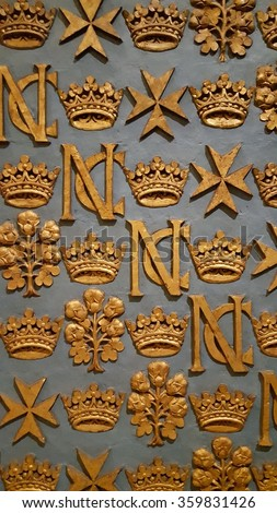 Templar symbols on a church wall in Malta - stock photo