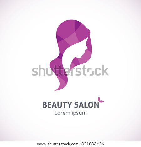 Womans head silhouette heart shape logotype stock vector for Abstract beauty salon
