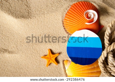 Template background of summer marine items on a sand. - stock photo