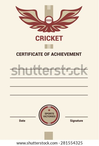 Template Certificate Diploma Cricket Simple Modern Stock