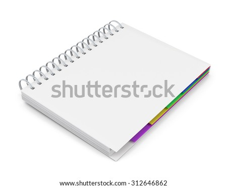 Template diary with a white cover with spring isolated on white background. 3d rendering. - stock photo