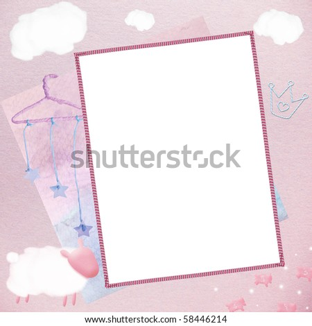Template for baby's photo - stock photo