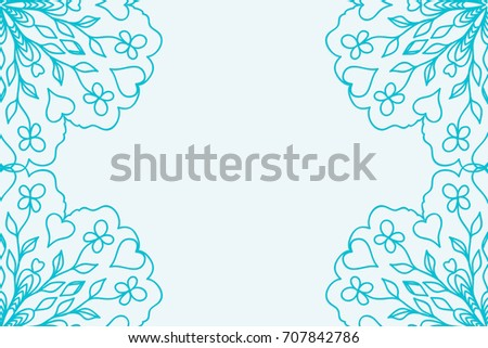 template for Business Card. Decorative elements. Ornamental floral mandala pattern.   illustration. Arabic, Indian, Turkish, Ottoman motifs. blue color
