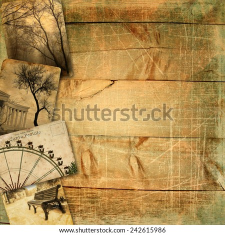 Template for design page photo book. Old postcards on wooden planks with scratches and texture. - stock photo
