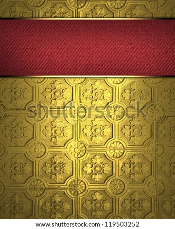 Template for inscription. Design template - Gold background with red nameplate - stock photo
