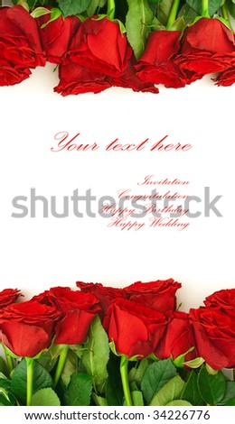 template for the invitation cards with red roses - stock photo