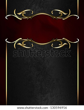 Template for writing. Black name plate with gold ornate edges, on red background