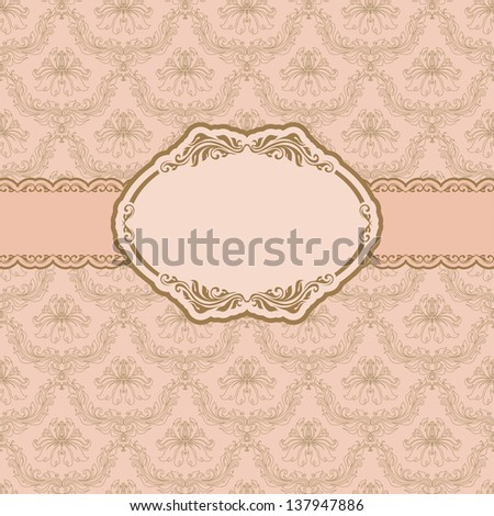 Template frame design for greeting card . In vintage style. - stock photo