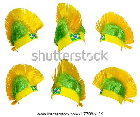 Template - Headgear fan Brazil national football team at the World Championships - stock photo