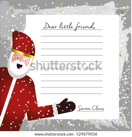 Cute letter santa claus design template stock vector 528441493 template letter from santa claus blank for your text beautiful card with flat character santa pronofoot35fo Gallery