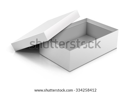 Template of blank cardboard box with opened lid lying on white background. Packaging collection. Cardboard Box Opened.  - stock photo