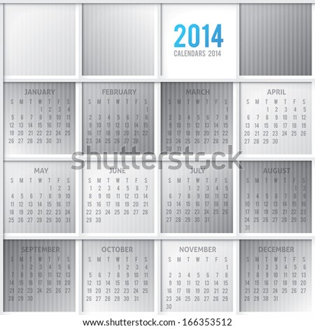 Template Calendar 2014 Stock Illustration 166353512 Shutterstock