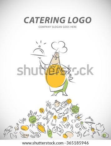 Template of catering company logo. Restaurant food elements collection. Catering, outdoor events and restaurant service insignia, food icons. Hand drawn elements. - stock photo