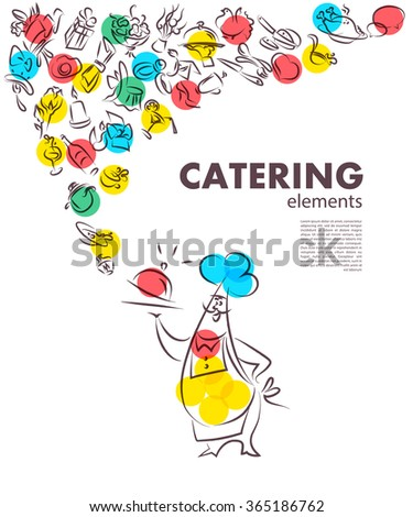 Template of catering company logo. Restaurant food elements collection. Catering, outdoor events and restaurant service insignia, food icons. Hand drawn cupcake, sausage, photo elements. - stock photo