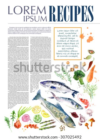 Template of magazine article recipe design with bright watercolor illustrations of fresh vegetables on white background. - stock photo