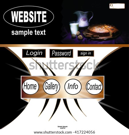 Template of website design with glass of milk and pie - stock photo