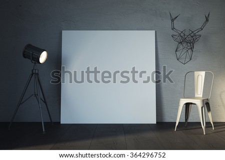 Template of white canvas on loft style interior, with decoration deer on wall. 3d rendering - stock photo