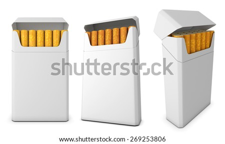 Template pack of cigarettes from different angles isolated on white background. 3d illustration. - stock photo