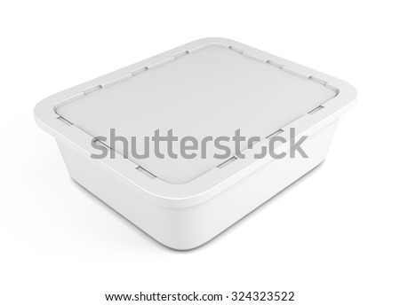 Template plastic container for food clipping path. 3d illustration.