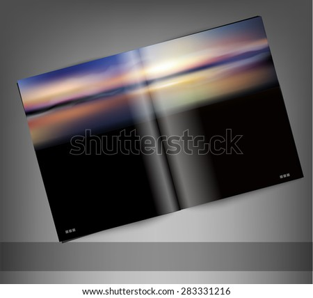 template print edition of the magazine with seascape - stock photo