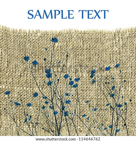 Template with blue flowers on sacking - stock photo