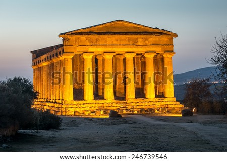 temple at night - stock photo