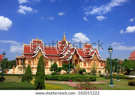 Temple at Pha That Luang complex, Vientiane, Laos, Southeast Asia - stock photo